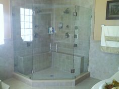 Bathtub glass door is a common addition in many home bathrooms. These doors can be more durable than a regular shower curtain Bifold Shower Door, Corner Shower Doors, Glass Shower Doors, Glass Door, Corner Showers, Glass Showers, Upstairs Bathrooms, Master Bathroom, Glass Shower Enclosures