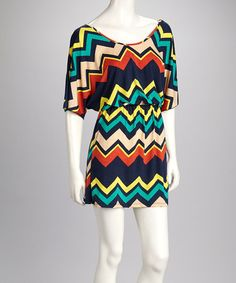 Take a look at this Navy & Cream Zigzag Cape-Sleeve Dress by Fashionomics on #zulily today! $27.99, regular 64.00