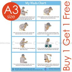A3 Wudu Demonstration Poster. It's showing each step of wuduIt shows you what you need to say or do at wudu. Buy this poster online at just £5.99 only. Place your order online here: https://www.theorientuk.com/collections/ramadan/products/a3-wudu-demonstration-poster