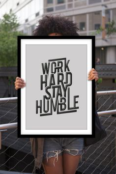 "Typography Print Inspirational Quote ""Work Hard Stay Humble"" Motivational Wall Decor Office Decor Office Art Minimalist Poster Home Decor"