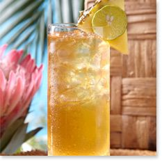 WICKED PINEAPPLE SWIZZLE.  2 parts Mount Gay Eclipse Rum, 3/4 part Velvet Falernum, 1 1/2 parts pineapple juice, 2 dashes bitters, 1 part club soda.  Add all ingredients together except the soda water. Mix over ice in glass. Top with soda. Garnish with a lime slice.