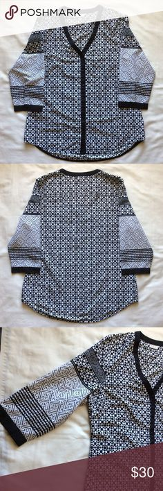 💥HUGE SALE!!💥 Beautiful B&W Quarter Sleeve Top Worn two times and is in perfect condition. Has no size tag but is a size medium. Material: 100% Polyester. Measurements: Length: 29 inches; Chest: 21 3/4 inches; Sleeve Length: 18 inches. Price is firm unless bundled. (CURRENTLY NOT TRADING) Antilia Femme Tops Blouses