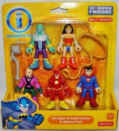 Imaginext DC Super Friends Heroes & Villains Pack with Brainiac, Lex Luthor, Superman, Flash, and Wonder Woman
