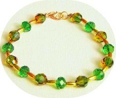 Swarovski Crystal Fern Green Gold Bracelet-Distinctive Handmade Crystal Gemstone Jewelry-Green Gold Bracelet-Womens Jewelry-Green Bracelet by Willows3Creations on Etsy