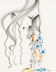 Girl Illustration Giclee Print Of My Original Pencil Drawing A Sad Crying Fine