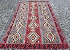 "VINTAGE Turkish Kilim Rug, Decorative Gray and Red Kilim Rug, Handwoven Wool Kilim Rug  114"" x 61 inch  FREE SHIPPING"