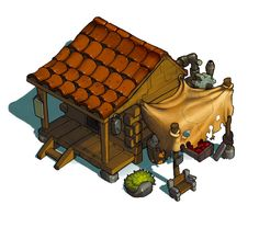 here's a house that I was tested on to paint from Sacred season 2 [link] Drawn by Trade house Building Concept, Building Art, Illustrations, Illustration Art, Isometric Drawing, House Games, Game Props, Environment Concept Art, Environmental Design