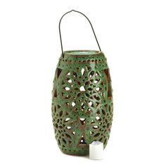 Green LED Candle Lantern