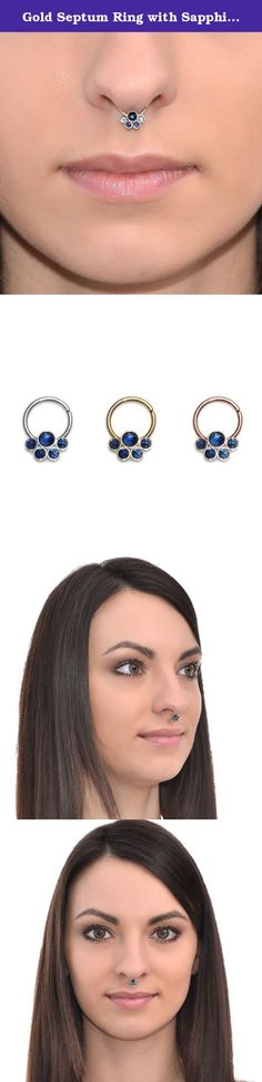 Gold Septum Ring with Sapphire 18g / Septum Piercing, Nose Ring. Elegant 14k gold filled sapphire septum ring. This is a perfect gift for you or your beloved ones! *The listing is for one hoop (not for a pair). *Available inner diameters in millimeters for your ring: 8mm, 9mm, 10mm, 11mm, 12mm (please feel free to contact us if you need a custom size) *Gauges (wire thickness) available for this item: 20g, 18g, 16g *Metals this item can be made of: sterling silver, 14k rose gold filled…
