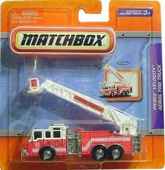 "Matchbox 4"" Real Working Rigs Die-Cast, (Red w/White Cab) PIERCE VELOCITY AERIAL FIRE TRUCK (Wilton Truck 5) by Mattel. $19.99. Real Working Rigs series. about 4 inches long. Pierce Velocity Aerial Fire Truck (""Wilton Truck 5""). Authentic Die-cast parts, for ages 3+. Ladder rotates 360°, Extending Ladder. Matchbox with Real Working Parts die cast. Pierce Velocity Aerial Fire Truck is a red and white color with ""Wilton Truck 5"" on ladder. Ladder extends and rotates."