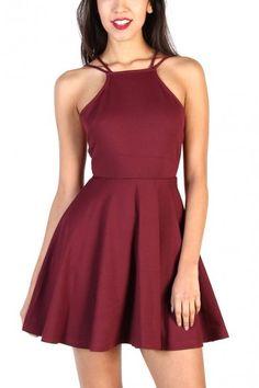 LoveMelrose.com From Harry & Molly Burgundy Spaghetti Strap Dresses