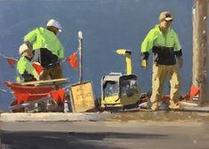 """Men at Work - 5"""" x 7"""" (12.7cm x 17.8cm)  - Oil"""