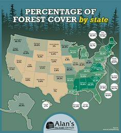 Percentage of forest cover by U. state - Anne Middleton - Percentage of forest cover by U. state Map of the amount of forest coverage in each U. state Most forested states in the United Maine - New Hampshire - Vermont - - Us History, American History, History Education, Teaching History, Black History, State Forest, Forest Map, U.s. States, United States Map