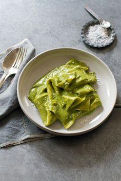 @saltandwind Souvenir Recipe  | {Mandilli di Seta} Handkerchief Pasta with Creamy Pesto | Inspired by Factory Kitchen, Los Angeles, California | http://saltandwind.com