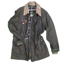 Vintage Vintage Barbour Jacket ($395) ❤ liked on Polyvore featuring outerwear, jackets, tops, coats, women, military style jacket, waxed jacket, zip jacket, military inspired jacket and military fashion