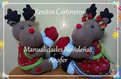 Manualidades Anafer: Cortineros Navideños Reno, Dinosaur Stuffed Animal, Christmas, Baby, Animals, Christmas Deco, Baby Pillows, Christmas Chair, Leather Totes