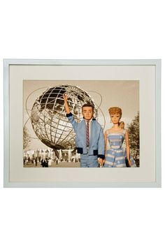 Hand-Signed Barbie and Ken 1964 Worlds Fair Framed Print by Barbie and Ken