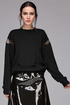 Sweatshirt with transparent panel sleeve