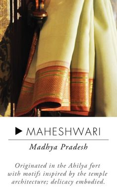 Maheshwari - Handloom sarees are lifetime possessions.When it comes to everyday wear, take your pick from attractive cotton sarees like Mangalgiri, Sambalpuri or a Madurai. Simple yet elegant, these sarees are lightweight and comfortable. While Ilkal sarees are subtle, simple and delicately intricate, Kosa sarees depict stories from mythological and historical times. If u r looking to buy an iconic South Indian saree,Kerala Kasavu which is classy, graceful and simple is a great choice.