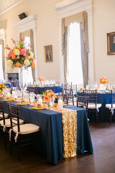 Gold, Navy + Orange Wedding Decor // Dana Cubbage Weddings // Charleston SC + Destination Wedding Photographer