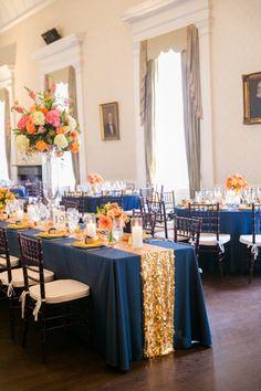 Gold, Navy + Orange Wedding Decor // Dana Cubbage Weddings // Charleston SC + Destination Wedding Photographer