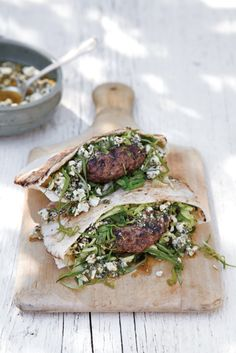 lamb burgers with mint feta pesto. This burger although refreshing is still a juicy burger. So good.