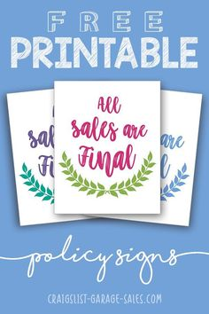 Free Printable Signs - Sale Signs, Loyalty Cards, Stickers ...
