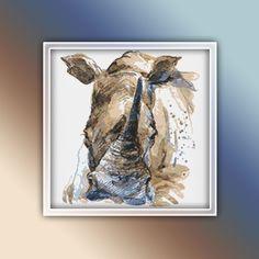Rhino Cross Stitch Pattern 8 Instant PDF Download - Rhinoceros Watercolor Cross Stitch Pattern - White Rhino Cross Stitch Pattern Hedgehog Cross Stitch, Star Stitch, Cool Writing, Dmc Floss, Rhinoceros, Cross Stitch Patterns, Free Images, Pdf, Watercolor