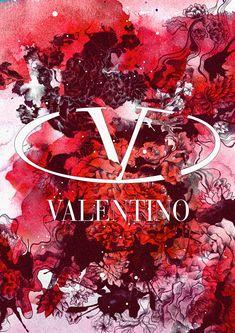 Brands in Full Bloom by Daryl Feril: Valentino Valentino Red, Valentino Garavani, Fashion Wallpaper, Red Wallpaper, Floral Theme, Photo Wall Collage, Branding Design, Logo Design, Backgrounds