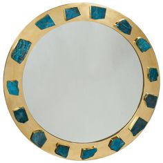 Bejeweled Apatite Porthole Mirror | From a unique collection of antique and modern wall mirrors at https://www.1stdibs.com/furniture/mirrors/wall-mirrors/