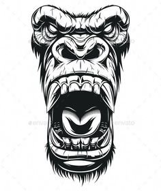 Vector graphics Install any size without loss of quality. ZIP archive contains:. - Vector graphics Install any size without loss of quality. ZIP archive contains: 1 -file 1 - Gorilla Tattoo, Tattoo Sleeve Designs, Animal Art, Sketches, Skull Art, Gorillas Art, Tattoo Drawings, Art, Vector Art