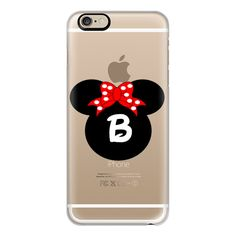 Minnie Mouse Initial Monogram B - iPhone 6s Case,iPhone 6 Case,iPhone... ($40) ❤ liked on Polyvore featuring accessories, tech accessories, iphone case, clear iphone case, apple iphone case, monogram iphone case, iphone cover case and slim iphone case