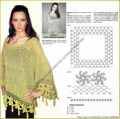 Irish crochet &: Пончо с цветами