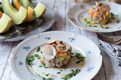 Qooking.ch | Tartare de truite et melons Vinaigrette, Ceviche, Melons, Potato Salad, Potatoes, Breakfast, Ethnic Recipes, Food, Mint