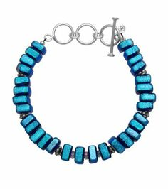 """Sterling Silver Dichroic Glass Aqua on Blue Flat Square-Shaped Beads Bracelet, 7.5+1.6"""" Extender Amazon Curated Collection. $48.00"""