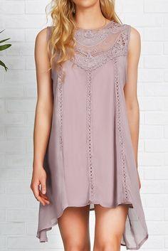 Cupshe Purple Bubble Lace Splicing Dress