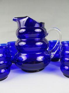 "1936 LOUIE GLASS ""Harpo"" ART DECO Cobalt Blue WATER SET Pitcher w/6 Tumblers"