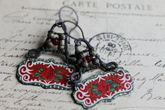 GYPSY ROSE Vintage tin earrings blackened Red by TwistedJewel, $45.00