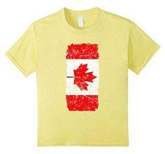 Kids Distressed Canadian Flag National Canada Day T-shirt 12 Lemon