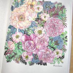 ん〜どうだろう。薔薇は難しむずかしい塗るのは楽しかったです。次に活かします✨ #世界一美しい花のぬり絵book #leiladuly #floribunda #watercolor #art #おとなのぬりえ #大人のぬり絵 #大人の塗り絵 #コロリアージュ #coloringbook #coloriage #adultcoloring #adultcoloringbook #bayan_boyan #rose #winsorandnewton #artistscolouring