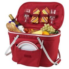 Set of picnic essentials for two in a red insulated basket. Designed and assembled in the USA.Product: Picnic basket (1) Basket(2) 9 Diameter plates  (2) Knives  (2) Forks  (2) Spoons  (2) Wine glasses  (2) Napkins  Construction Material: Cotton, acrylic, stainless steel and aluminum  Color: Red Dimensions:  19 H x 18.5 W x 11.5 D  (overall)