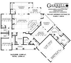Hot Springs Cottage III House Plan # 10014 , 1st Floor Plan,  Mountain Style House Plans, Rustic Style House Plans