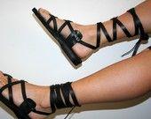 Black Gladiator Leather Sandals