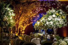 Decoração de casamento, arranjos de flores, amarelo, verde e branco