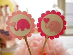 Pop-mounted Baby Elephant Design Cupcake Toppers, Perfect for Children's Birthday Parties and Baby Showers. $9.95, via Etsy.