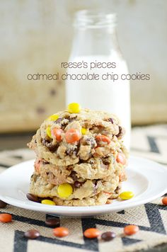 Reese's Pieces Oatmeal Chocolate Chip Cookies.  Very simple, came together quickly and are quite delicious. Would make again