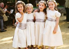 Cream flower girl dresses are the complement the rich colors of fall| Real California Wedding| Carly & Chip| The Bride's Cafe