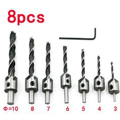 New Design  7pcs 3mm-10mm HSS 8 Flute Countersink Drill Bit Set Reamer Woodworking Chamfer  VEP45 T50 #Affiliate