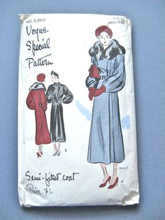 1930s Vogue Special Design S3883 Women's Coat Pattern by Fancywork, $100.00