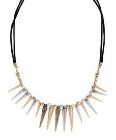 Black (Black) Gold and Silver Spike Necklace | 254646401 | New Look